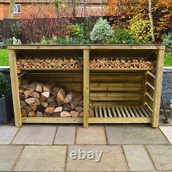 Normanton 4ft Outdoor Wooden Log Store Reversed Roof UK HAND MADE