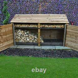 Normanton 4ft Wooden Log Store Also Available With Doors UK Hand Made