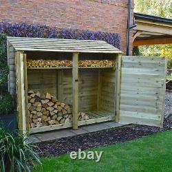 Normanton 6ft Wooden Log Store Also Available With Doors UK Hand Made
