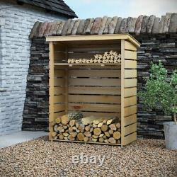 Outdoor Beautiful Wooden Log Store Garden Storage Shed Natural Timber NEW