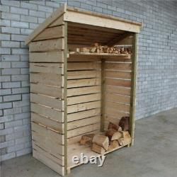 Outdoor Slatted Wooden Kindling & Log Seasoning, Drying & Airing Firewood Store