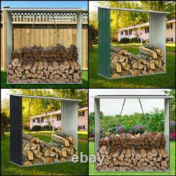 Outdoor Wooden Log Store Galvanised Steel Garden Shed Firewood Stacking Storage