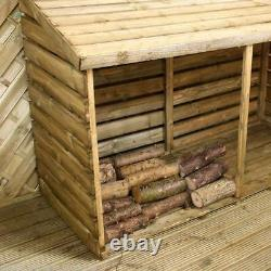 PRESSURE TREATED 6x3 LOG STORE WOODEN DOUBLE LOGSTORE LARGE WOOD 6ft x 3ft