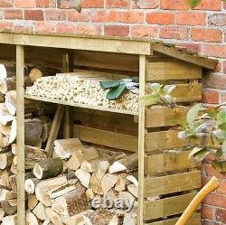 PRESSURE TREATED LOG STORE WOODEN LOGSTORES NEW UN USED WOOD LOGSTORE 7ft x 2ft