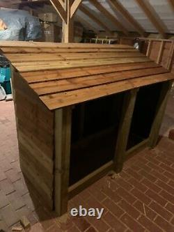 Premium Heavy Duty Tall Double Bay Wooden Log Store/Shelter Great Price
