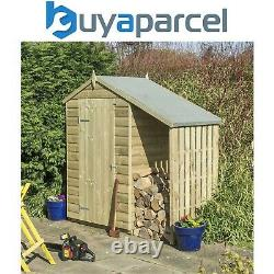Rowlinson 4x3 Oxford Shed Wooden Garden Shed Storage & Wood Log Store Lean To