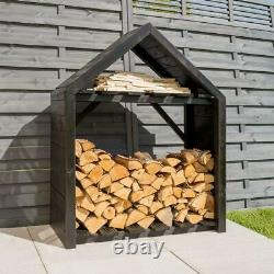 Rowlinson Black Apex Wooden Log Store Kindling Shelf Garden Storage NEW