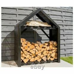 Rowlinson Black Apex Wooden Log Store outdoor water resistant all year