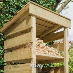Rowlinson Narrow Wooden Log Wood Store Kindling Shelf Garden Storage
