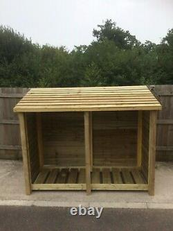 Rugglestone 6ft Wide Outdoor Wooden Log store Available With Doors And Shelf