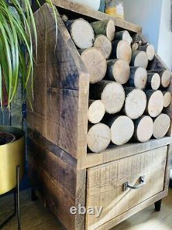 Rustic Wooden Indoor Outdoor Log Store, Log Holder, Log Burner Log Storage