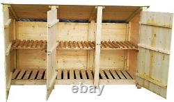 SKINY Wooden Triple Log Store / Tool Store 4ft and 6 ft Outdoors