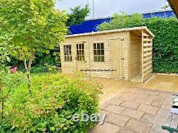 Shed with log store summerhouse workshop log cabin combi georgian wooden pent