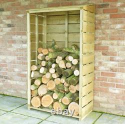 Tall Logstore Storage Firewood Rack Rustic Log Store Wooden Timber Wood Sawn