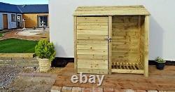 Tool Storage & Log Store Wooden (W-187cm, H-126cm/180cm, D-81cm) Green or Brown