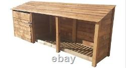 Tool Store and Log Store Wooden Garden W-3350mm x H-1260mm / 1800mm x D-810mmm