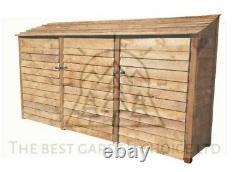 Triple Bay Reverse Roof Wooden Log Store