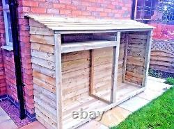 Very Large wooden Double bay log store, Assembled, tanalised heavy duty
