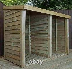 WOODEN PRESSURE TREATED DOUBLE LOG STORE 3x6 STORAGE TIMBER GARDEN PENT 3ft 6ft