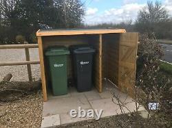 Wheelie bin and recycle store log store handmade wooden