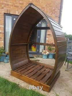 Wooden Arch Log Store/Feature Garden Seat Area