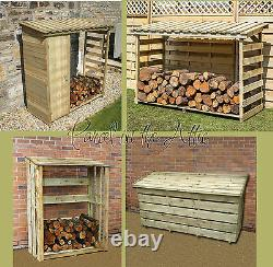 Wooden Log Store Heavy Duty Garden Firewood Storage Shed Pressure Treated