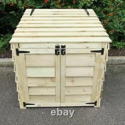 Wooden Log Store, Lifting Lid, Doors, 92 x 90 x 90cm, Outdoor Garden Storage