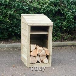Wooden Log Store, Narrow, 90 x 46 x 54cm, Compact Outdoor Garden Storage