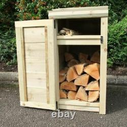 Wooden Log Store, Narrow with Doors, 90 x 46 x 54cm, Compact Outdoor Storage