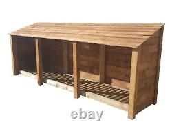 Wooden Log Store Outdoor Garden Shed W-3350mm x H-1260mm x D-810mm Clearance
