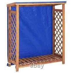Wooden Log Store Wood Firewood Outdoor Garden Storage Logs Shed 105x38x118 cm UK