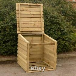 Wooden Log Store with Lifting Lid, 92 x 90 x 90cm, Outdoor Garden Storage