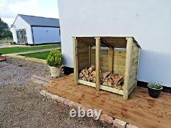 Wooden Outdoor Log Store, Fire Wood Storage Shed W-1460mm x H-1260mm x D-810mm