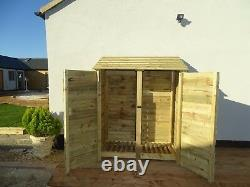 Wooden Outdoor Log Store, Fire Wood Storage Shed W-1460mm x H-1800mm x D-810mm