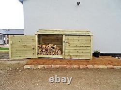 Wooden Outdoor Log Store, Fire Wood Storage Shed W-2270mm x H-1260mm x D-810mm