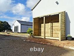 Wooden Outdoor Log Store, Fire Wood Storage Shed W-2270mm x H-1800mm x D-810mm