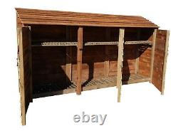 Wooden Outdoor Log Store, Fire Wood Storage Shed W-3350mm x H-1800mm x D-810mm