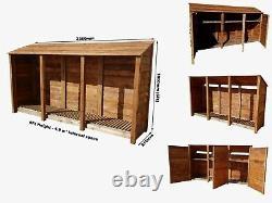 Wooden Outdoor Log Store, Fire Wood Storage Shed (W-335cm, H-180cm, D-81cm) Sale