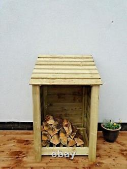 Wooden Outdoor Log Store, Fire Wood Storage Shed W-790mm x H-1260mm x D-810mm