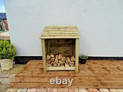 Wooden Outdoor Log Store, Fire Wood Storage Shed W-990mm x H-1200mm x D-810mm