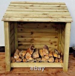 Wooden Outdoor Log Store, Fire Wood W-1190mm x H-1260mm x D-810mm Clearance