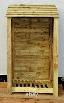 Wooden Outdoor Log Store, Fire Wood W-990mm x H-1800mm x D-810mm Clearance