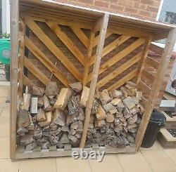 Wooden log store with tiled roof