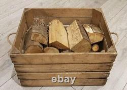 Basset De Log / Ensemble De Bois En Feu / Ensemble De Box De Kindling En Feu Vieille Caisse De Pommes En Bois