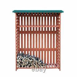 Birchtree Log Store Entreposage En Bois De Chauffage Toit En Feutre Avec Plateau Extérieur En Bois