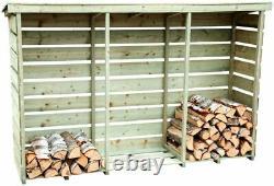 Charles Bentley Fsc Nordic Spruce Wooden 3 Log Store Entreposage Du Bois De Chauffage Lourd