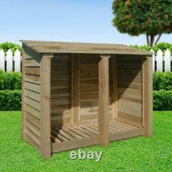 Cottesmore 4ft Outdoor Wooden Log Store Clearance Stock Uk Fabriqué À La Main