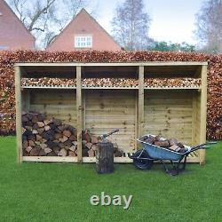 Empingham 6ft Outdoor Wooden Log Store Reversed Roof Uk Hand Made