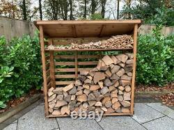 Extra Large Tall Wooden Log Store Firewood Fire Wood Logs Storage Shed Garden