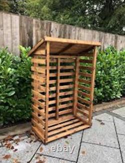 Fabrication À La Main Chunky Rustique Moyen Bois Sherwood Garden Log Store Table D'accueil